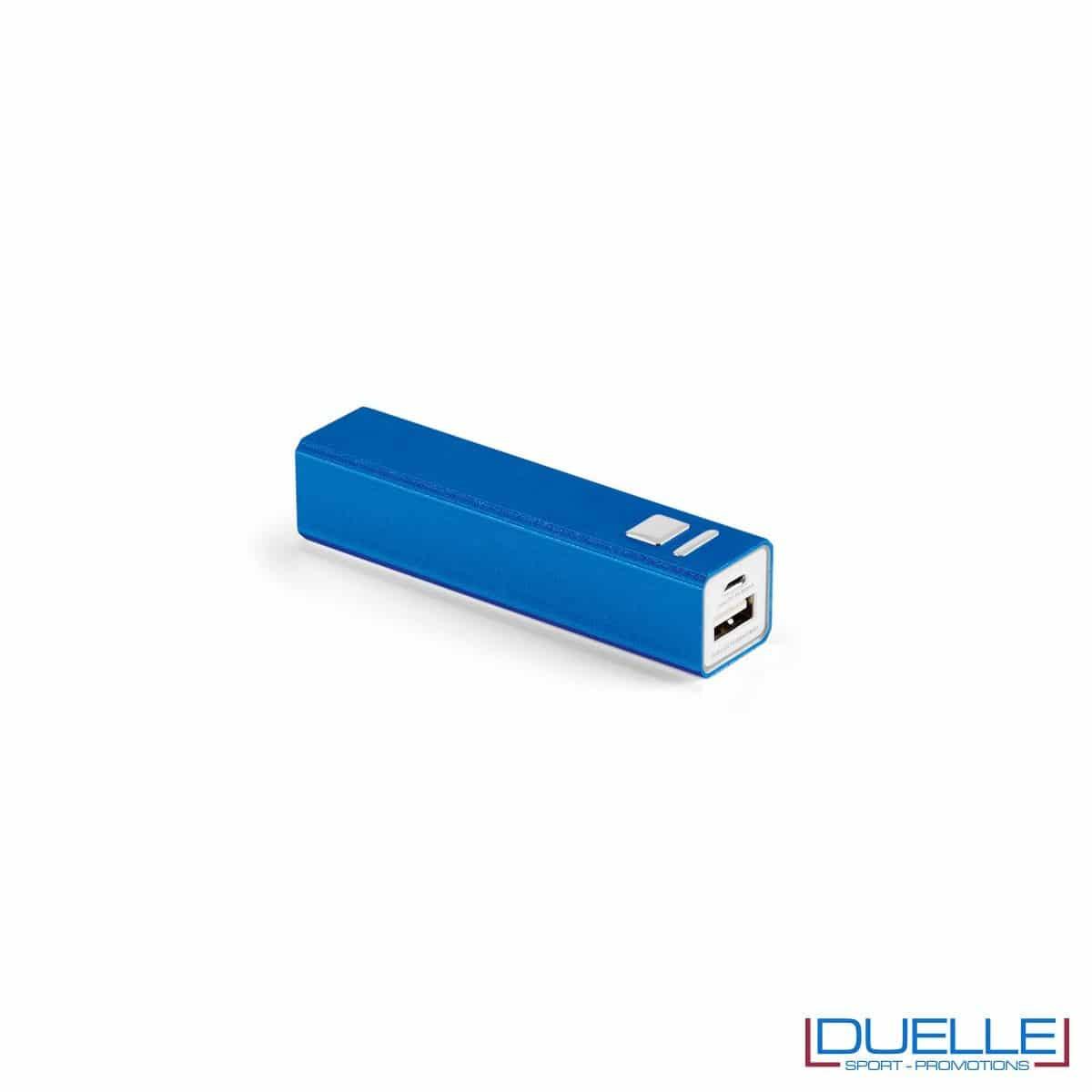 power bank personalizzato in alluminio blu con interruttore on-off, power bank personalizzati con incisione laser