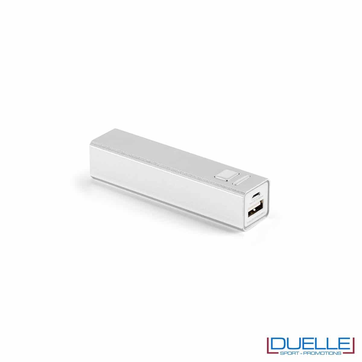 power bank personalizzato in alluminio argento con interruttore on-off, power bank personalizzati con incisione laser