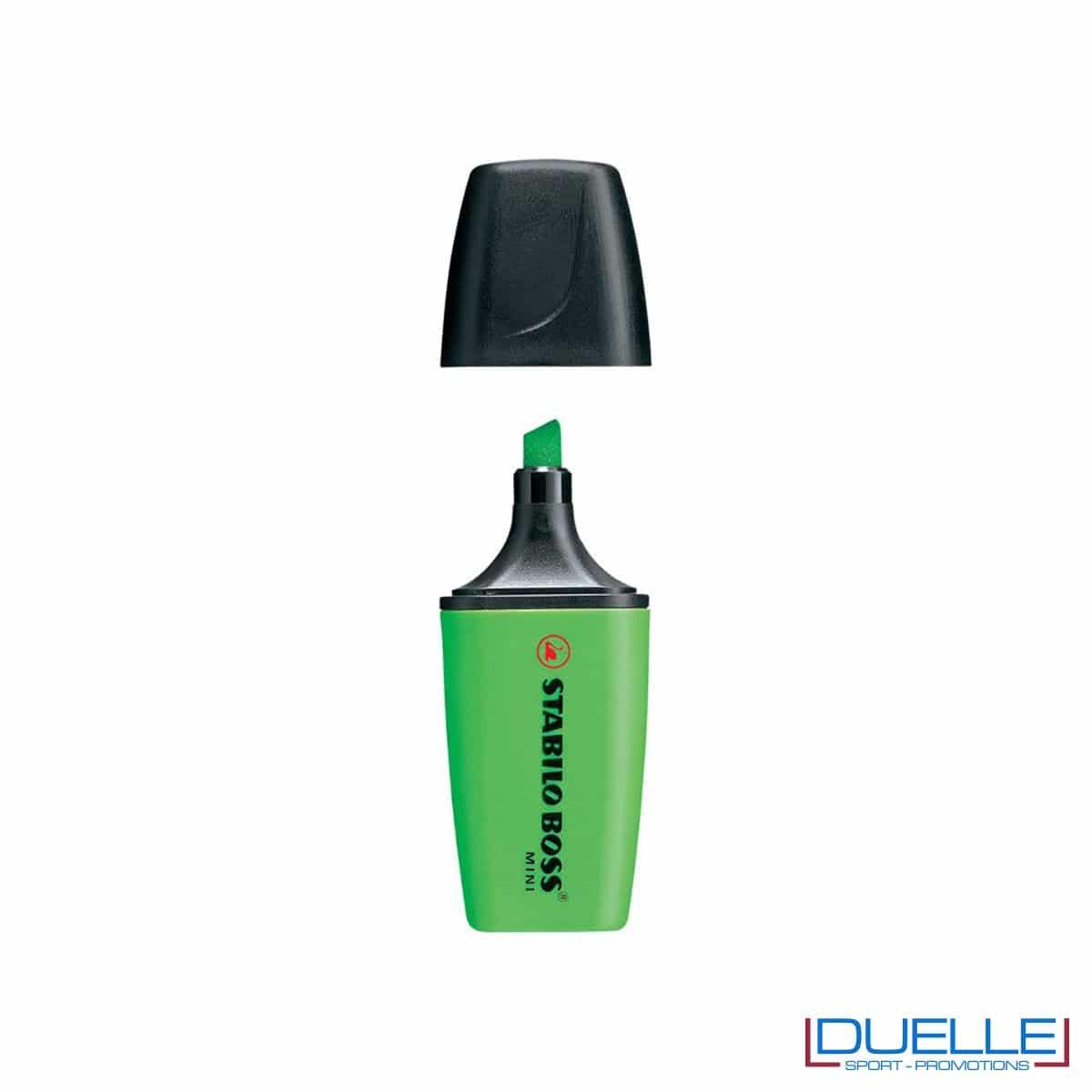 evidenziatore personalizzato stabilo boss mini colore verde, evidenziatori personalizzabili personalizzati mini verdi