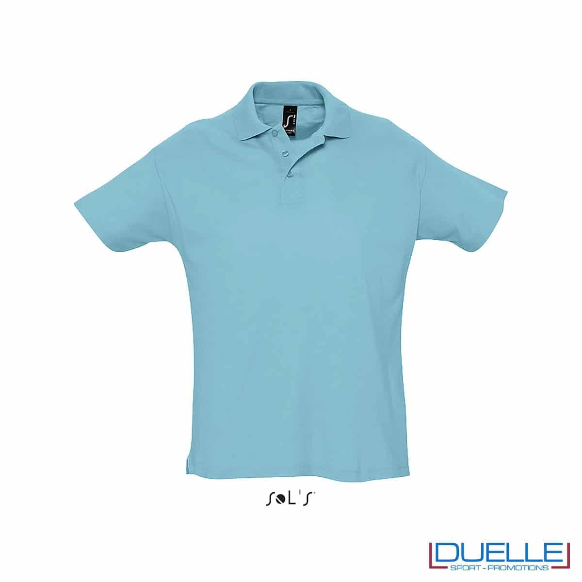 polo personalizzata colore blu atollo, polo piquet personalizzata