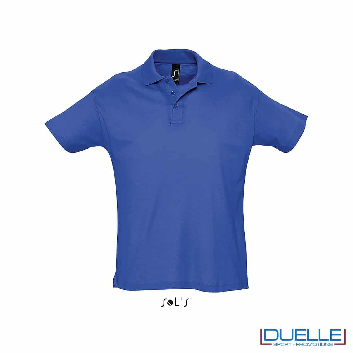 polo personalizzata colore blu royal, polo piquet personalizzata