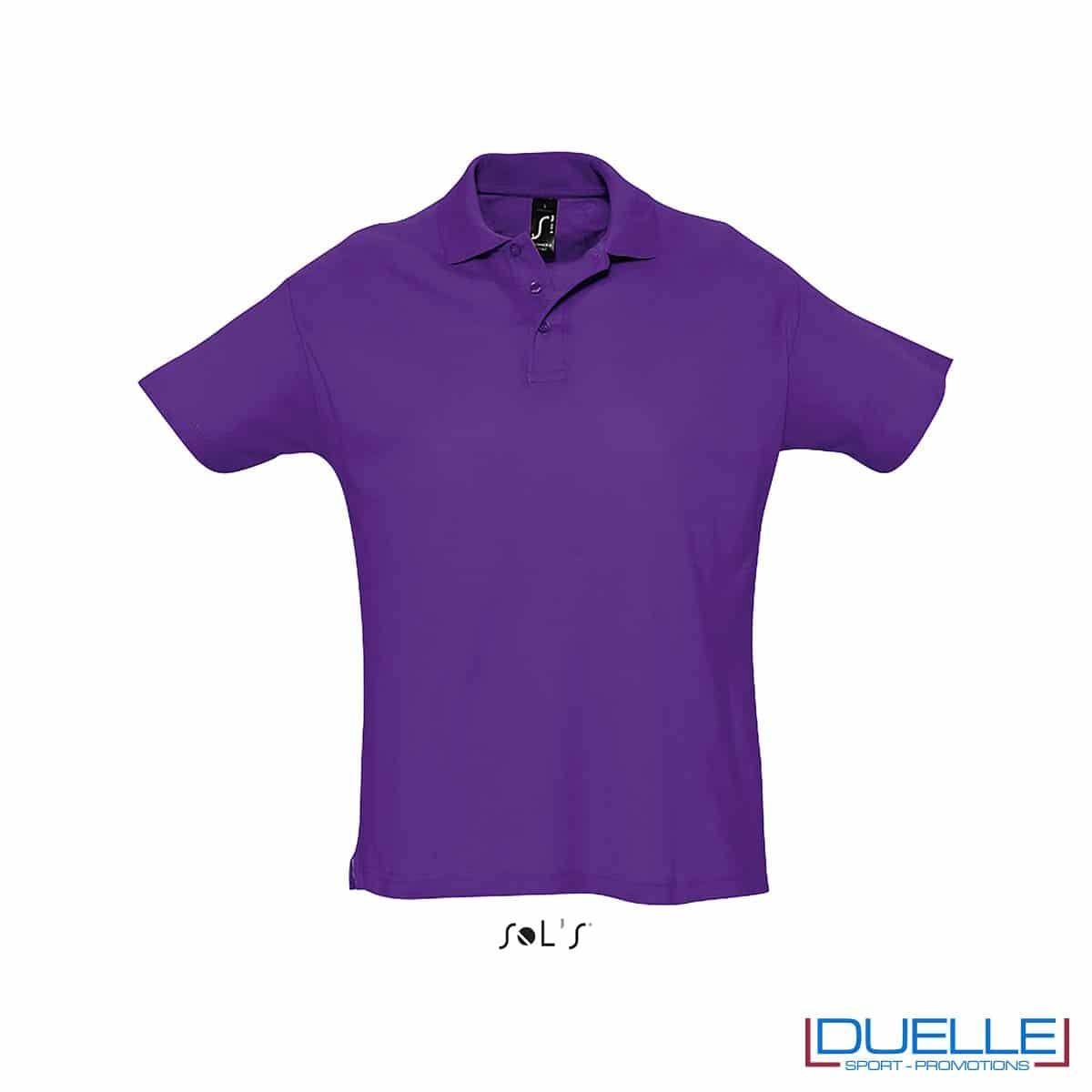 polo personalizzata colore viola scuro, polo piquet personalizzata