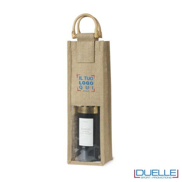 Sacca in Iuta portabottiglie da 1 posto Con manici in bambù e finestra frontale in plastica trasparente.