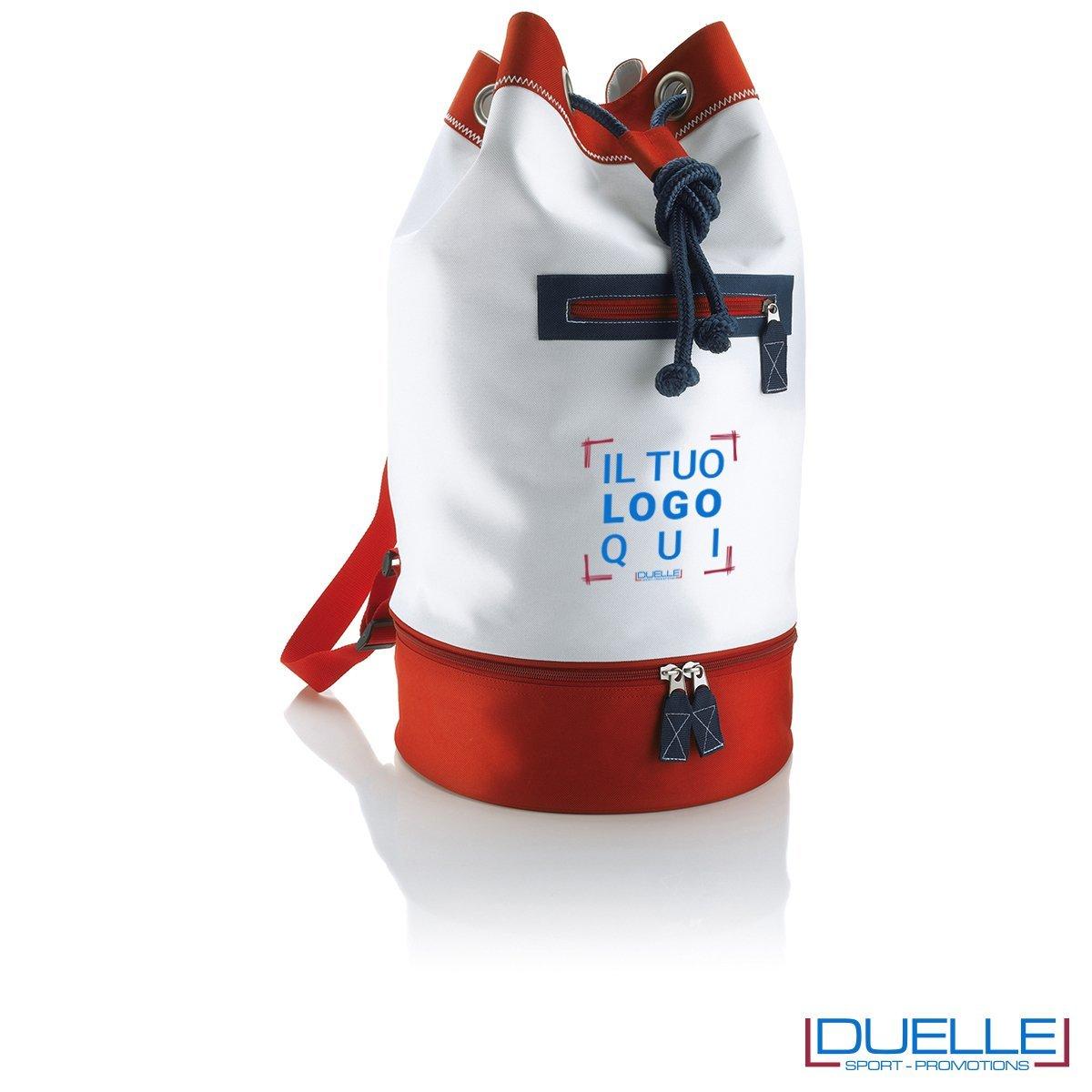 sacche mare personalizzate bianca e rossa, zaini mare personalizzabili