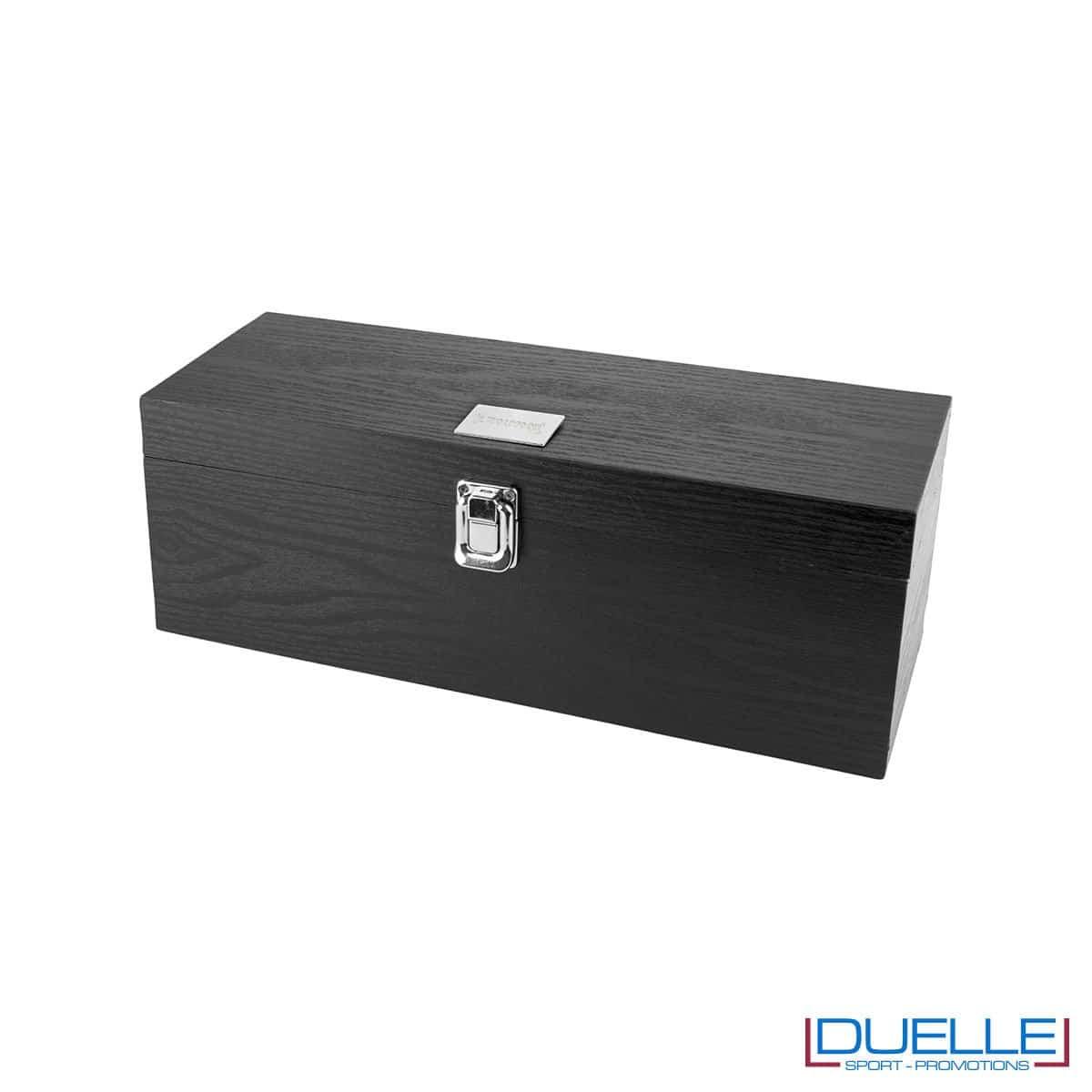 Set vino e formaggio personalizzato in scatola legno