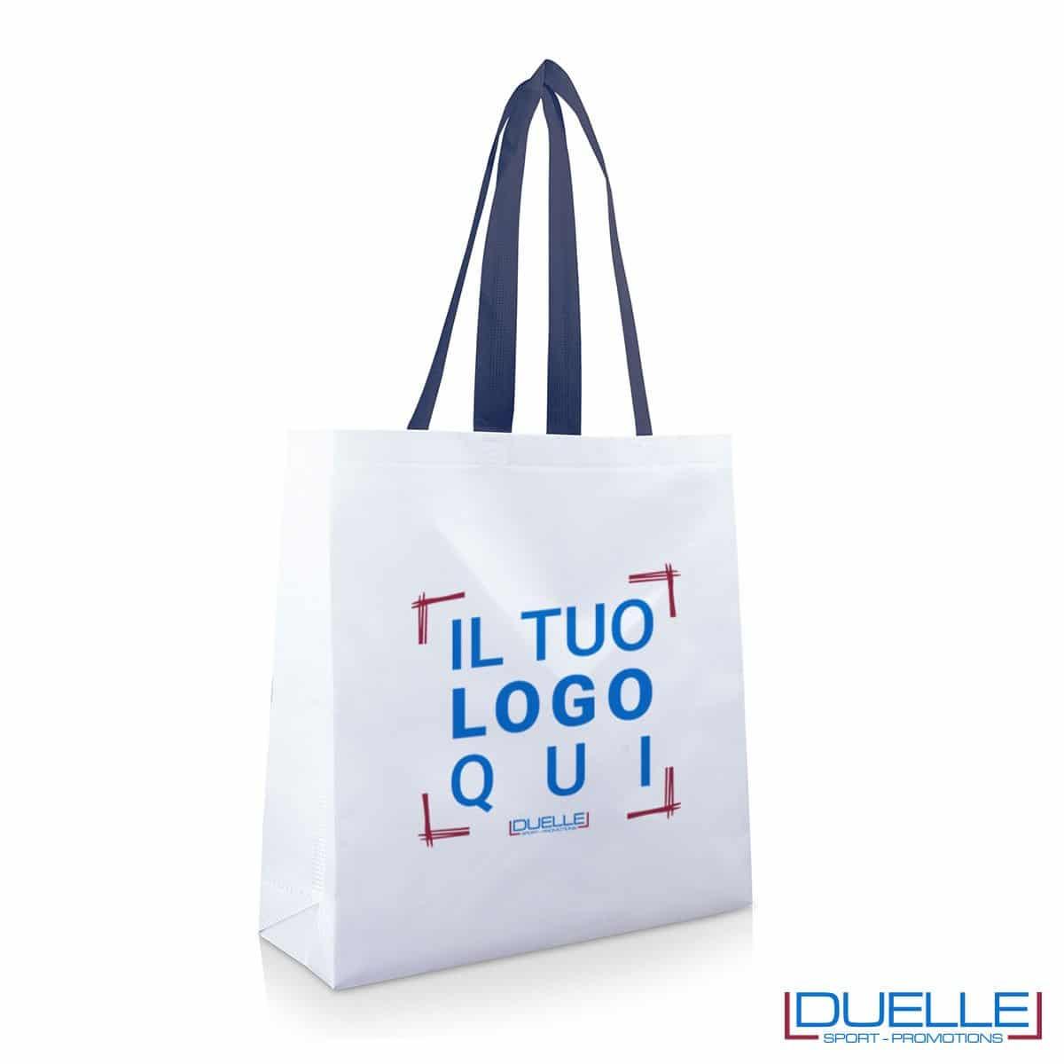 Shopper personalizzata in TNT laminato con manici blu navy