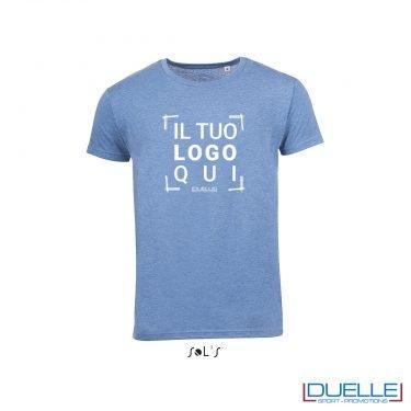 t-shirt personalizzata con tessuto melange in colore azzurro, abbigliamento promozionale personalizzato