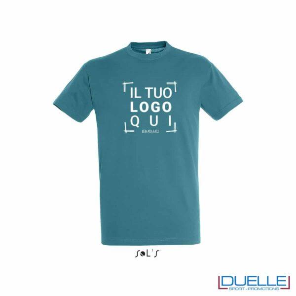 T-shirt in cotone colore blu anatra con maniche corte
