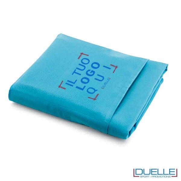 telo promozionale microfibra azzurro, gadget personalizzato da viaggio
