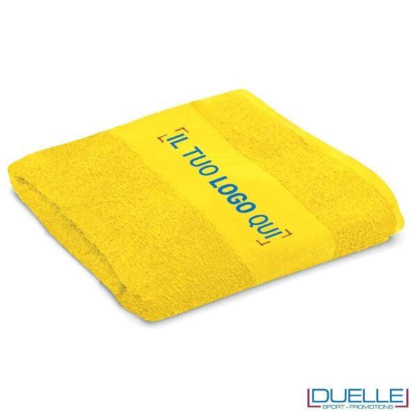 telo personalizzato mare cotone giallo, gadget mare, gadget estate, gadget promozionali 100% cotone
