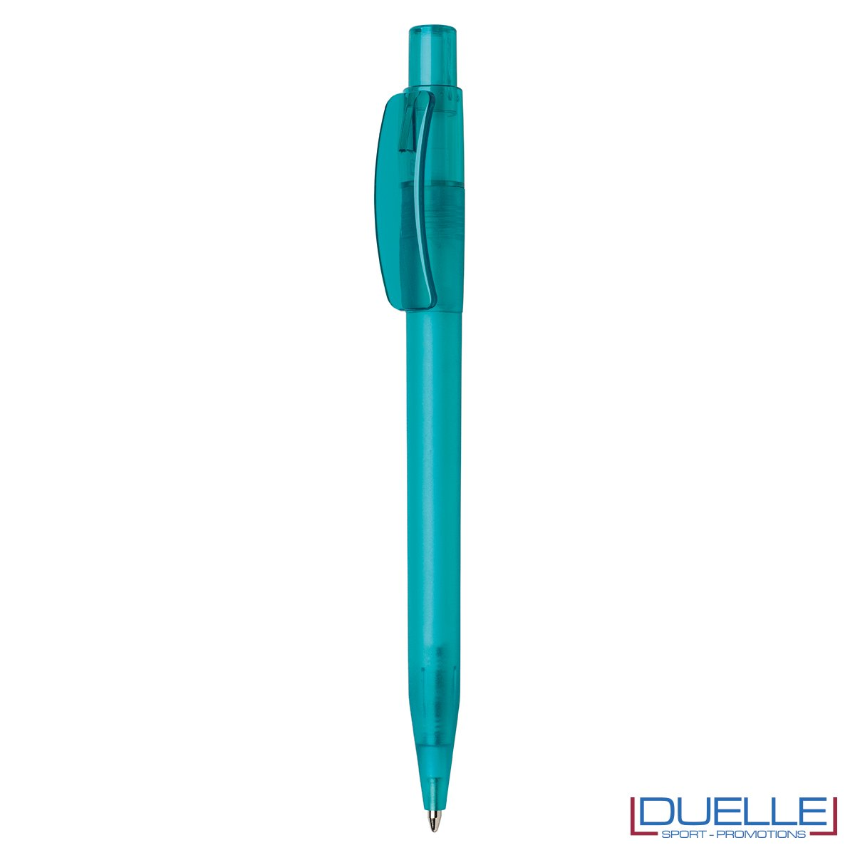 Penna Made in Italy personalizzata acquamarina effetto frost, gadget aziendali, penne personalizzate, gadget personalizzati, articoli promozionali