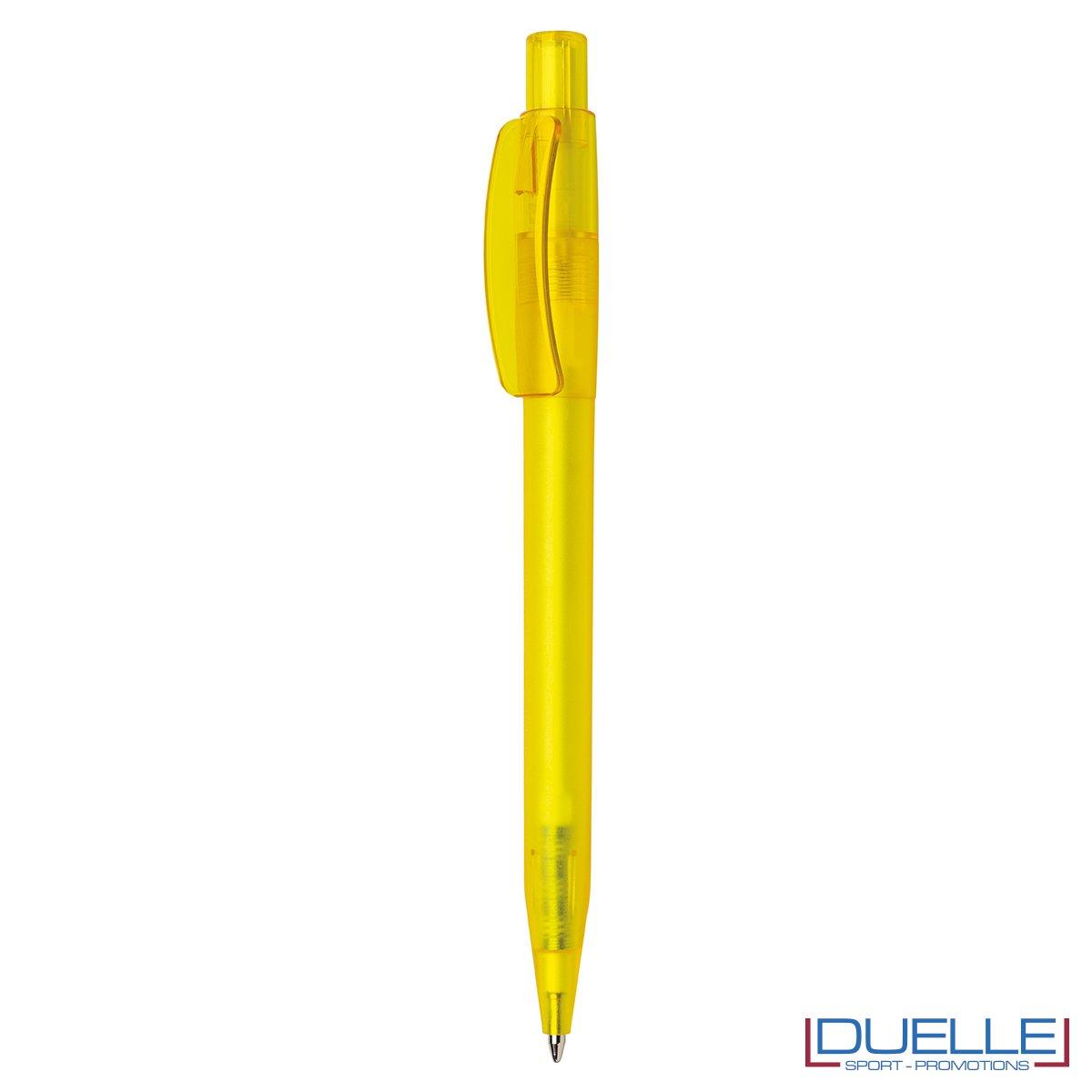 Penna Made in Italy personalizzata giallo effetto frost, gadget aziendali, penne personalizzate, gadget personalizzati, articoli promozionali