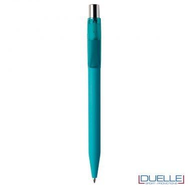 Penna Made in Italy personalizzata acquamarina effetto gommato clip trasparente, gadget aziendali, penne personalizzate, gadget personalizzati, articoli promozionali