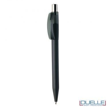 Penna Made in Italy personalizzata grigio scuro effetto gommato clip trasparente, gadget aziendali, penne personalizzate, gadget personalizzati, articoli promozionali