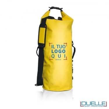zaino impermeabile personalizzato giallo, sacche mare impermeabili personalizzate in colore giallo