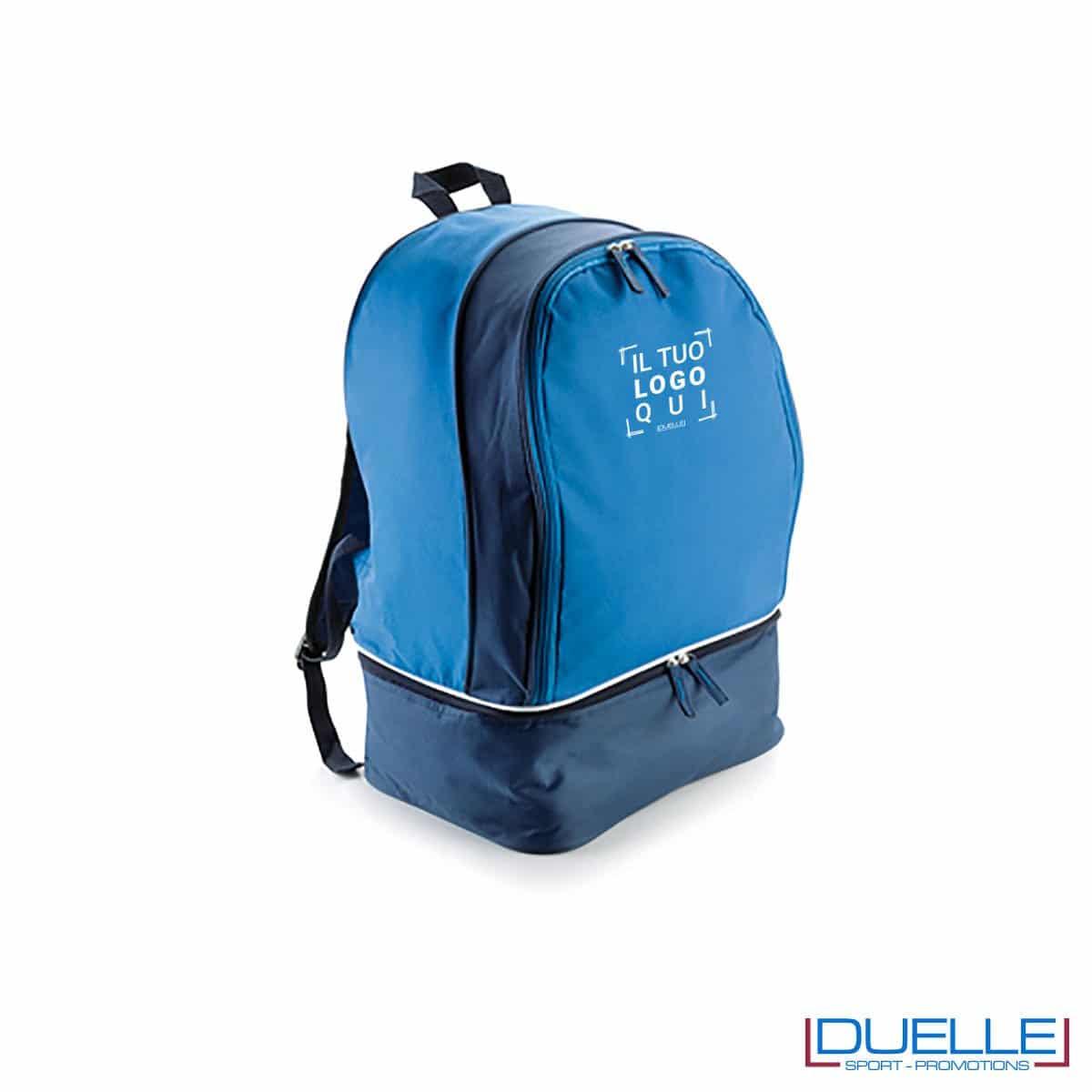 zaino sportivo personalizzato con porta scarpe in colore blu royal, zaini personalizzati per palestre e piscine blu royal