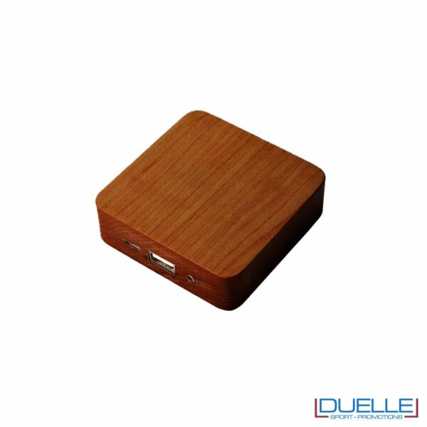 Power bank in legno rovere personalizzato con led